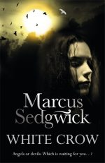 UK cover of White Crow with girl's face in half light and stormy sky with white bird.