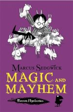 Uk cover of Magic and Mayhem with Cudweed among many white rabbits.