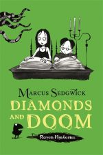 UK cover of Diamonds and Doom with Solstice and Cudweed reading from a large book.