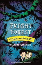 UK cover of Fright Forest showing Elf Girl and Raven Boy in a dark forest.