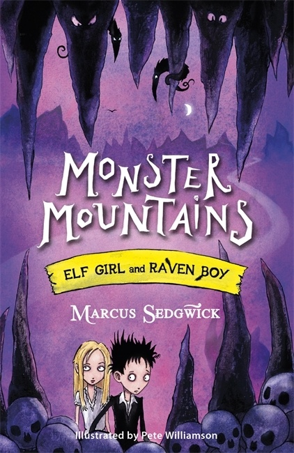 UK cover of Monster Mountains showing Elf Girl and Raven Boy in a dark cave.