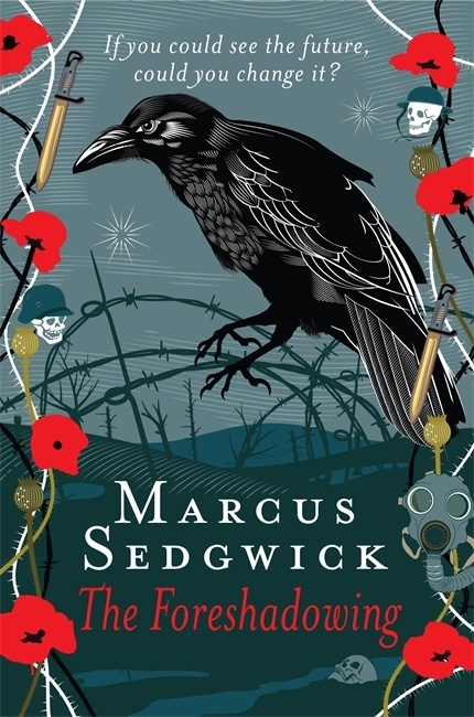 UK cover of The Foreshadowing showing image of raven against a battlefield.