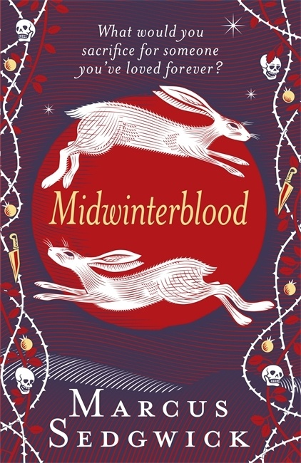 UK cover of Midwinterblood with image of two hares and symbols including skulls and knives and apples.