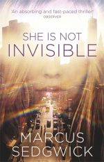 UK cover of She Is Not Invisible with part of girl's face overlaid on Manhattan landscape.