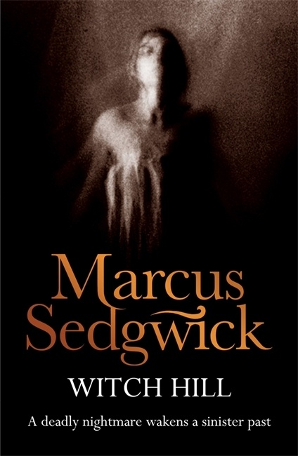 UK cover of Witch Hill with ghostly image of a figure floating against a dark background.