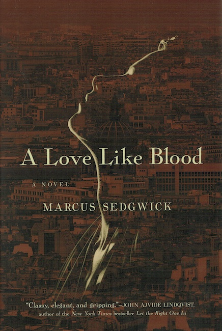US cover of A Love Like Blood showing outline of girl's face over Rome skyline.