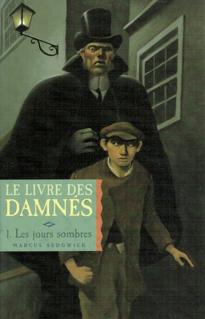 French cover of The Book of Dead Days showing man and boy walking in dark old street.