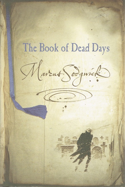 US cover of The Book of Dead Days showing man walking in snowy graveyard.