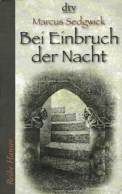 German cover of The Dark Flight Down showing stone sites leading up out of sight.