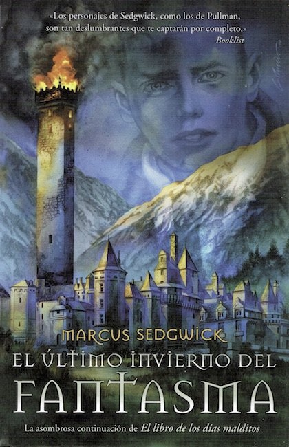 Spanish cover of The Dark Flight Down showing burning tower with boy's face in background.