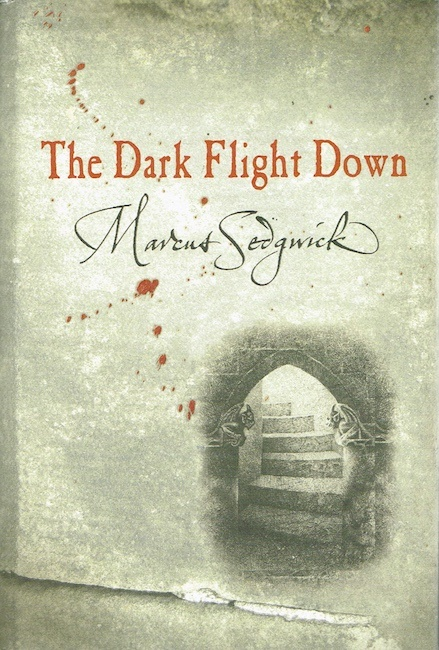 US cover of The Dark Flight Down showing stone steps leading away.