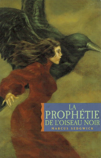 French cover of The Foreshadowing with girl and raven side by side.
