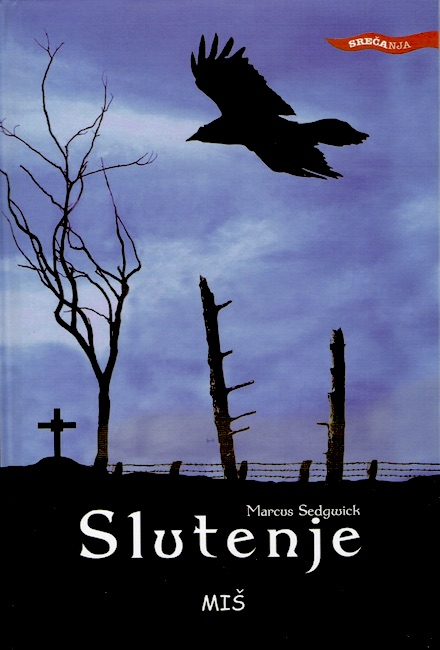 Slovenian cover of The Foreshadowing with raven flying in silhouette over a battlefield.