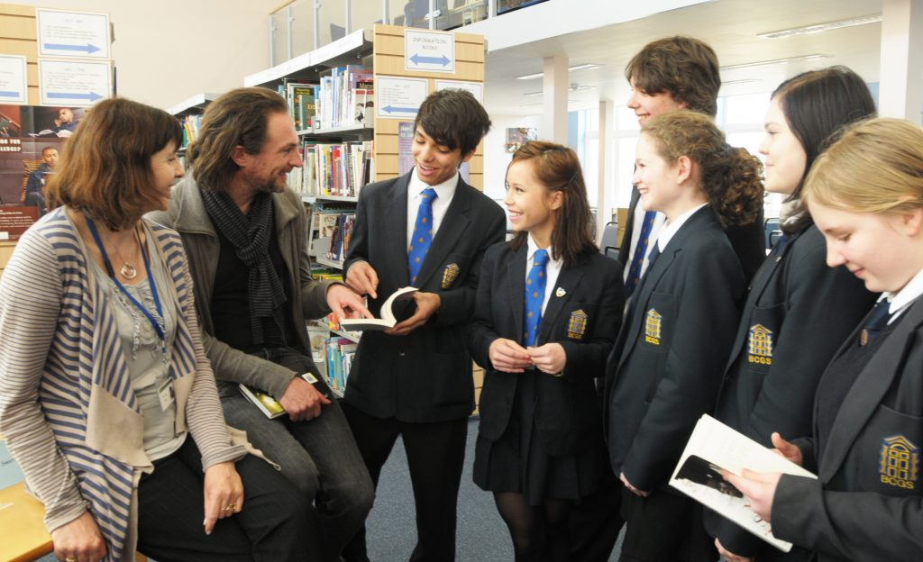 Canterbury. Author Marcus Sedgwick visits Barton Court Grammar School English study group to talk to pupils.