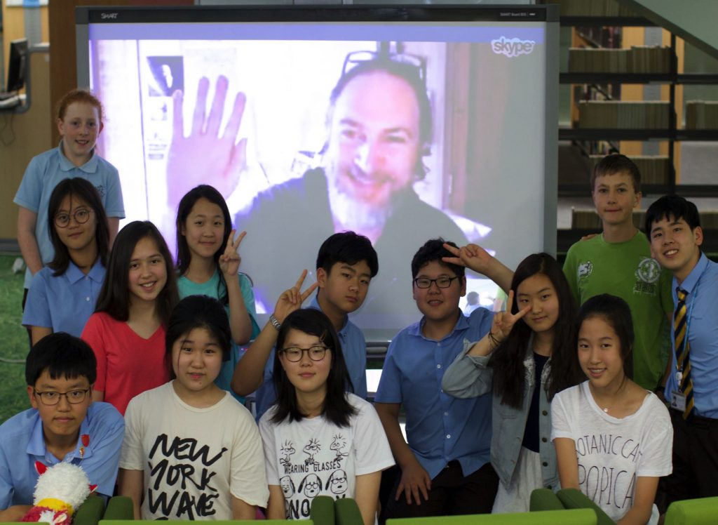 Marcus on a Skype call with students at Jeju School, Korea.