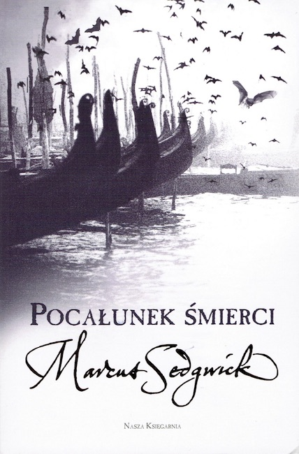 Polish cover of The Kiss of Death showing prows of Venetian gondolas.