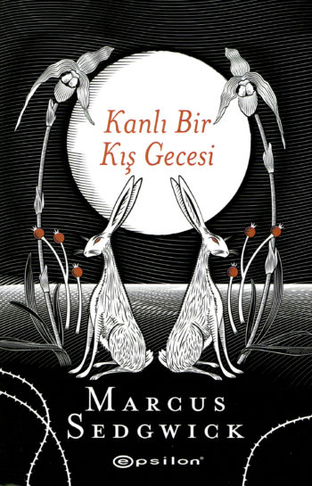 Cover of the Turkish edition of Midwinterblood showing two hares, back to back against a full moon.