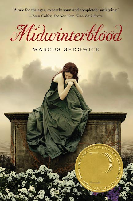 US cover of Midwinterblood showing woman in long grey-green dress sitting on a tomb.