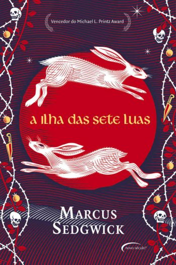 Portuguese cover of Midwinterblood showing two hares.