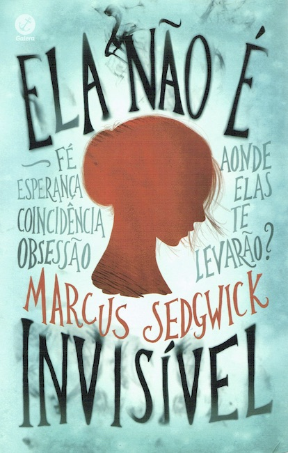 Brazilian cover of She Is Not Invisible with red silhouette of girl's head.