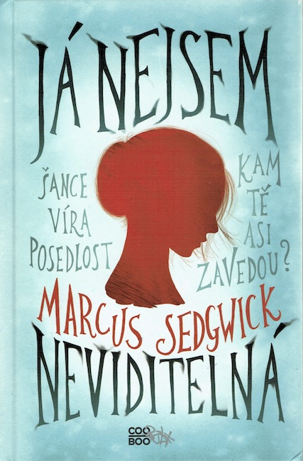 Czech cover of She Is Not Invisible with red silhouette of girl's head.
