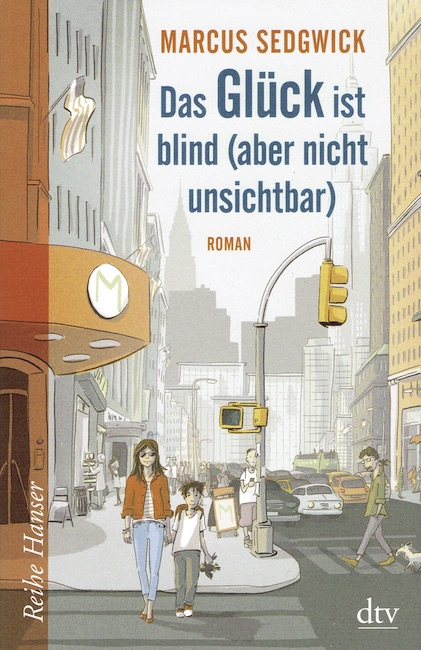 German cover of She Is Not Invisible showing girl with sunglasses holding boy's hand in Manhattan street scene.