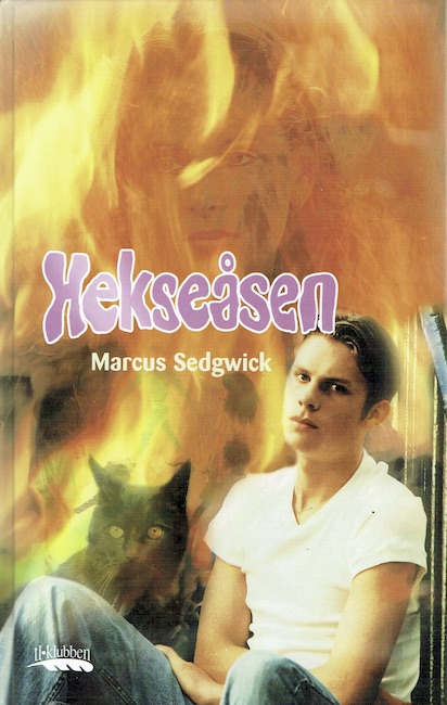 Norwegian cover of Witch Hill with boy and cat superimposed against flames.