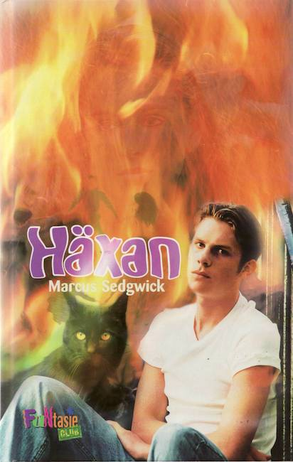 Swedish cover of Witch Hill with boy and cat superimposed against flames.