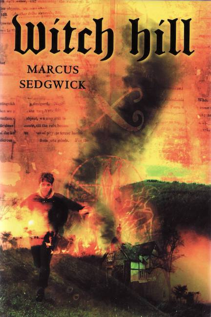 US cover of Witch Hill with boy running across burning hillside.