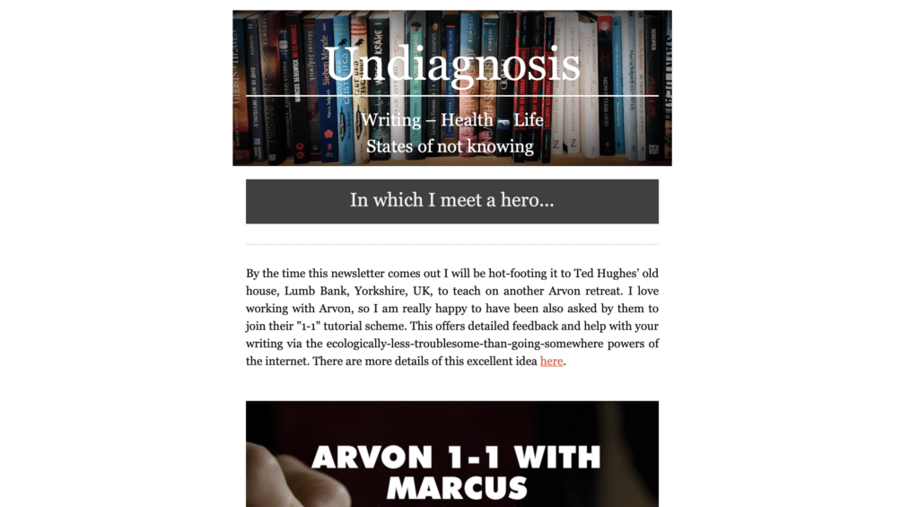 A screenshot of one of Marcus' newsletters