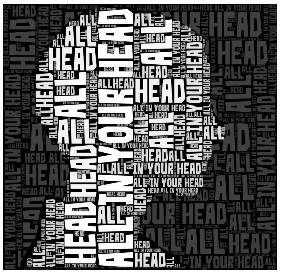 logo of a human head with the words All In Your Head inside it